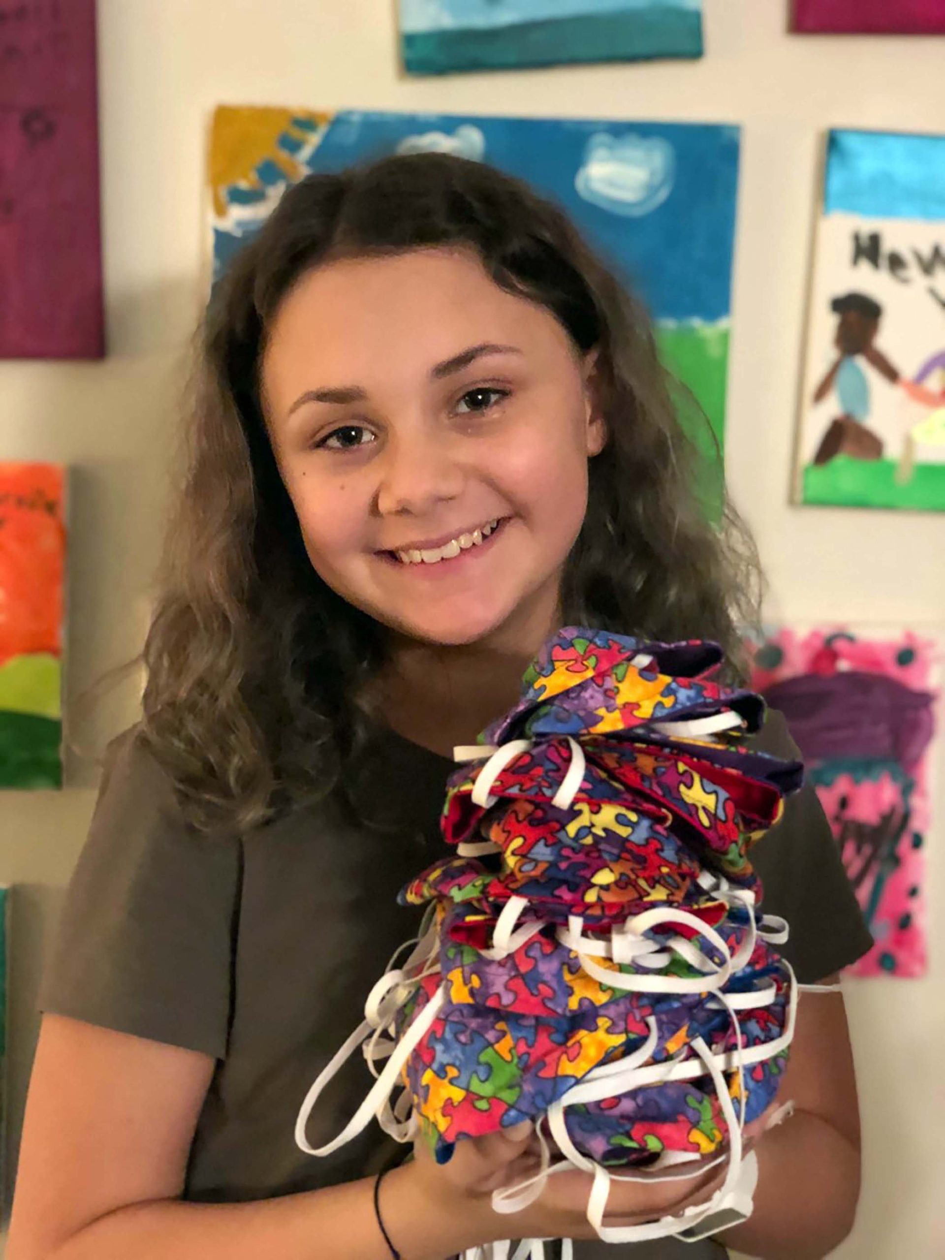 Rome Girl Makes, Donates Masks for Autism Awareness